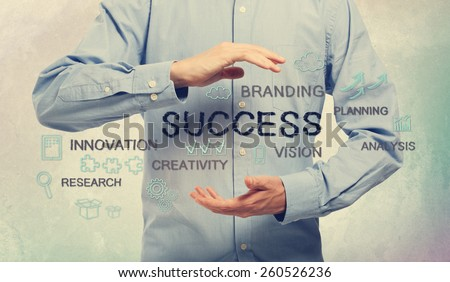 Success and creativity concept with young man and handwriting cartoon - stock photo
