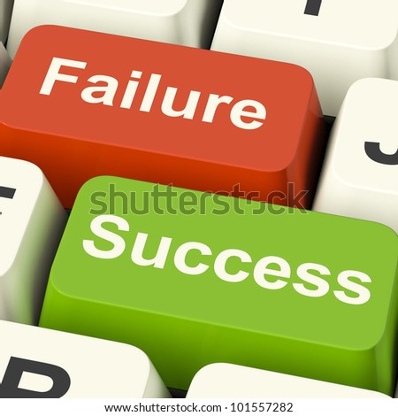 Success And Failure Computer Keys Shows Succeeding Or Failing Online