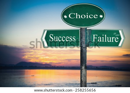 Success and Failure directions. Opposite traffic sign. - stock photo