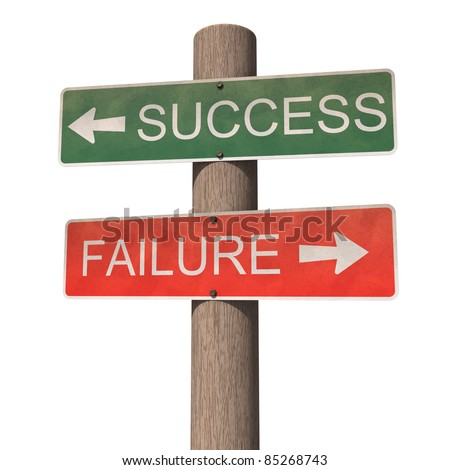 Success and failure signpost. Isolated on the white background. - stock photo