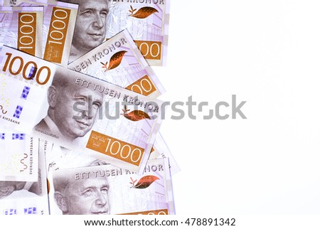 Success and got profit from business with a new series of Swedish kronor currency,money isolated on white background with copy space