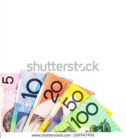 Success and got profit from business with colorful of Australian dollars banknote on white background - stock photo