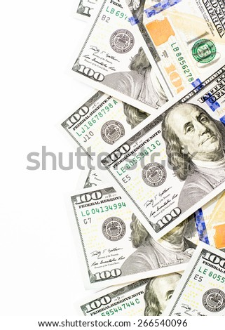Success and got profit from business with hundred us dollars banknote on white background