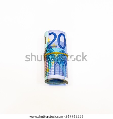 Success and got profit from business with roll colorful of Euro currency,money banknote on white background - stock photo