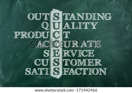 Success and other related words, handwritten in crossword on green blackboard - stock photo