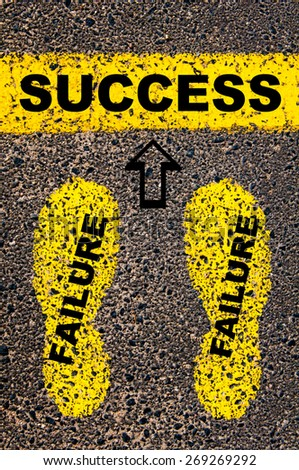 Success as a result of previous failures. Conceptual image with yellow paint footsteps on the road in front of horizontal line over asphalt stone background.  - stock photo