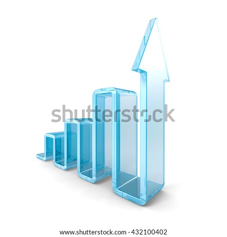 Success Business Bar Graph With Rising Up Arrow. 3d Render Illustration - stock photo