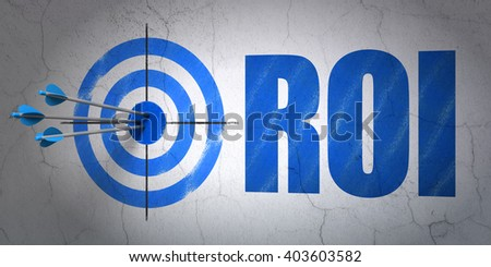 Success business concept: arrows hitting the center of target, Blue ROI on wall background, 3D rendering