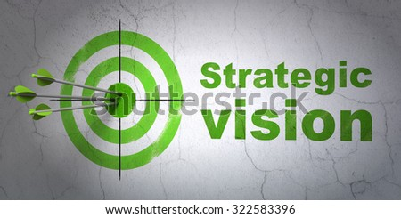 Success business concept: arrows hitting the center of target, Green Strategic Vision on wall background - stock photo