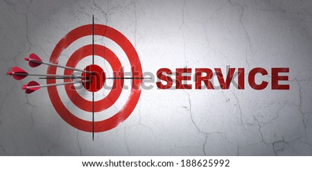 Success business concept: arrows hitting the center of target, Red Service on wall background, 3d render - stock photo