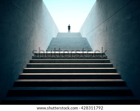 Success business concept. People climbed on top of the stairs. 3d render - stock photo