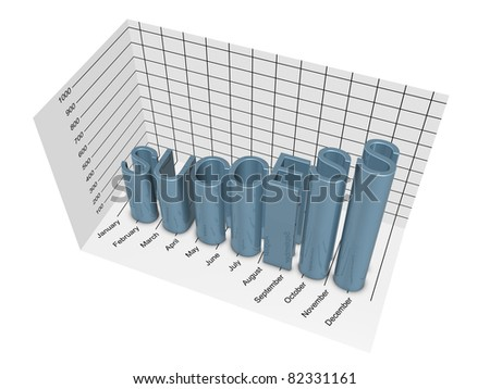 Success business graph. Isolated on the white background. - stock photo