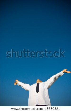 Success. Businessman looking up to the sky - stock photo