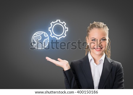 Success businesswoman showing business icon and chart