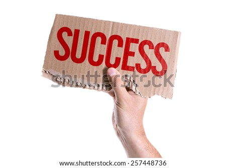 Success card isolated on white background - stock photo
