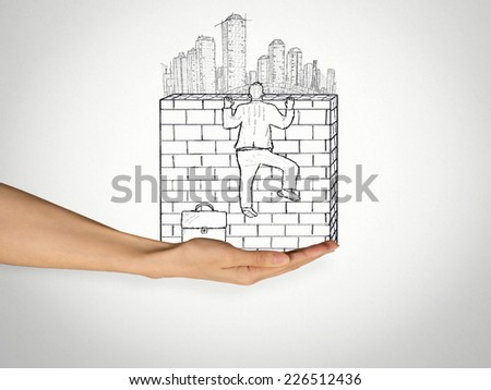 Success Challenge Climb. Sketch of businessman climbing to the top of brick wall with a city skyline behind it. Urbanization competitive advantage career growth competition obstacle solution concept  - stock photo