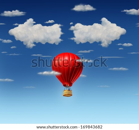 Success choice business concept as a red air balloon with a businessman pilot flying up and facing a difficult direction dilemma with clouds shaped as opposite pointing arrows in the sky. - stock photo