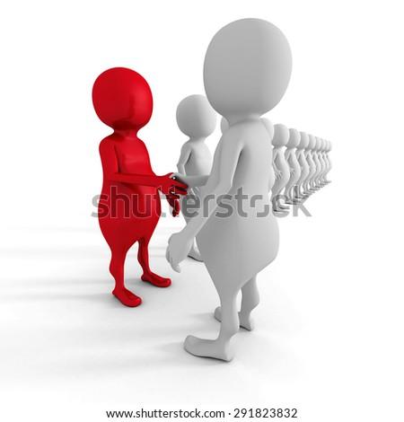 Success Choice Of 3d Man Partner. Teamwork Concept 3d Render Illustration - stock photo