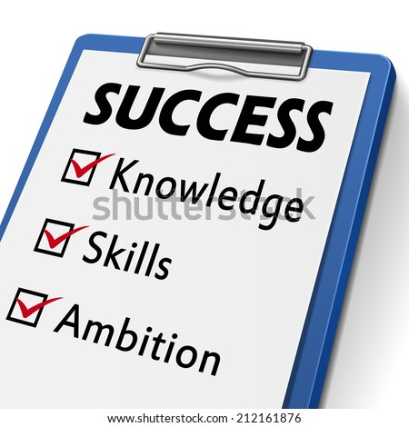 success clipboard with check boxes marked for the words knowledge, skills and ambition  - stock photo