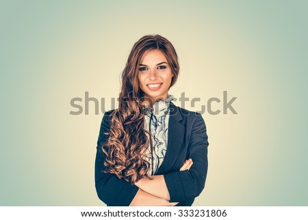 Success. Closeup portrait head shot confident beautiful happy young woman arms crossed smiling isolated green background wall. Positive human emotion face expression feeling life perception  attitude - stock photo
