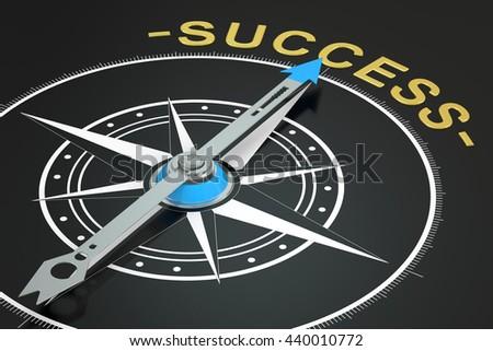 Success compass concept, 3D rendering - stock photo