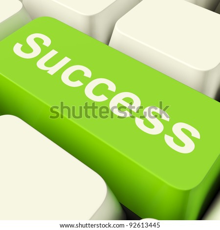 Success Computer Key In Green Showing Achievement And Determinations - stock photo