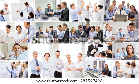 success concept - collage with many business people - stock photo