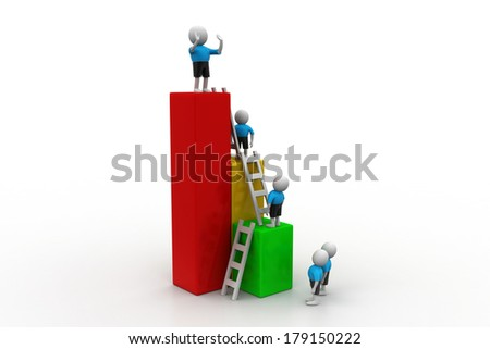 Success concept, 3d people climb on top of business growth graph - stock photo