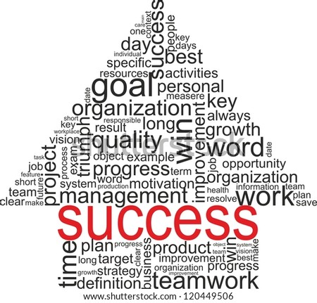 Success concept related words in tag cloud isolated on white. Arrow with different association terms. Raster illustration. - stock photo