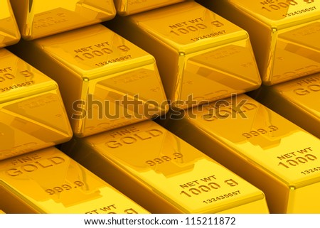 Success concept. Stacked golden bars extreme closeup - stock photo