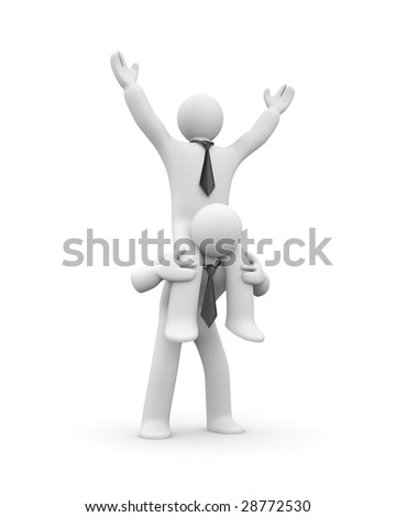Success concept. The employer rides on employee - stock photo