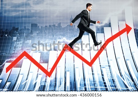 Success concept with businessman walking up red arrow on abstract business chart and city background