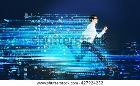 Success concept with running businessman and digital code trail on blur city background - stock photo