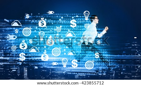 Success concept with running businessman and digital code with target, startup and financial wellbeing icons on abstract city background - stock photo