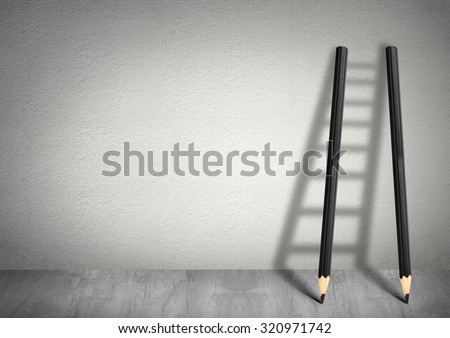 success creative concept, pencil Ladder with copy space - stock photo