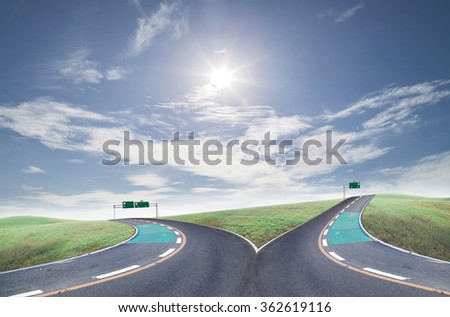 Success  cross roads on blue sky background - stock photo