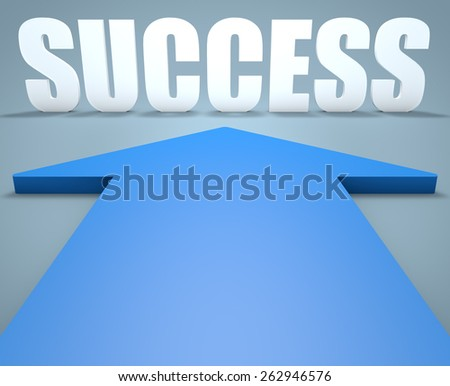 Success - 3d render concept of blue arrow pointing to text. - stock photo