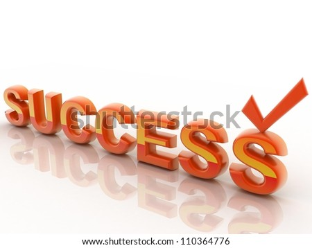 Success 3D text isolated on a white background