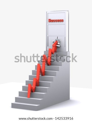 Success Door Broken By An Arrow - stock photo