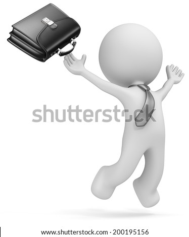 Success. Dude the business man jumping of joy. Black Briefcase and tie. Isolated. - stock photo