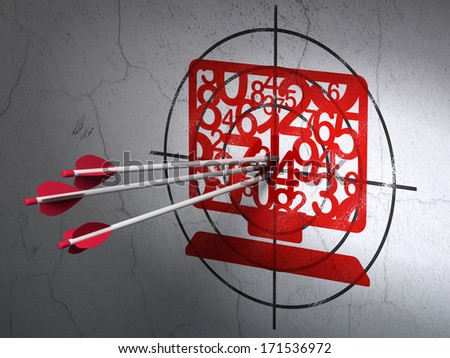 Success Education concept: arrows hitting the center of Red Computer Pc target on wall background, 3d render - stock photo