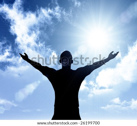 Success expression on a sunny day - stock photo