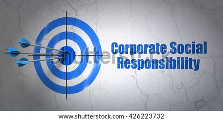 Success finance concept: arrows hitting the center of target, Blue Corporate Social Responsibility on wall background, 3D rendering - stock photo