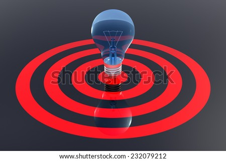 Success Finance Concept. The center of Light Bulb target on background. 3d rendering