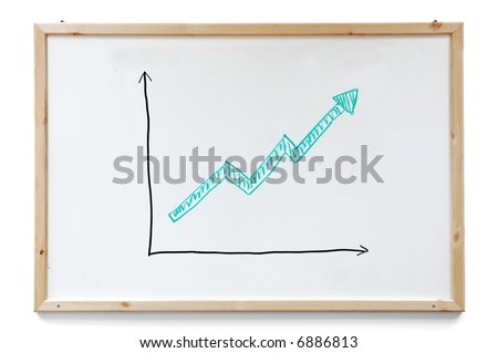 Success graph hand drawn with markers on a white board - stock photo