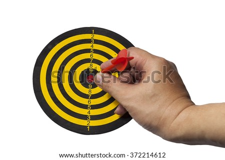 Success hitting target aim goal achievement concept background - dart with hand on white background.