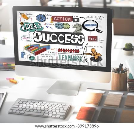 Success Improvement Achievement Goal Aim Concept - stock photo