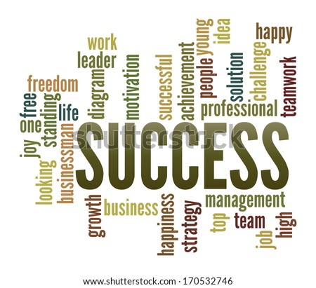 Success  in word collage - stock photo