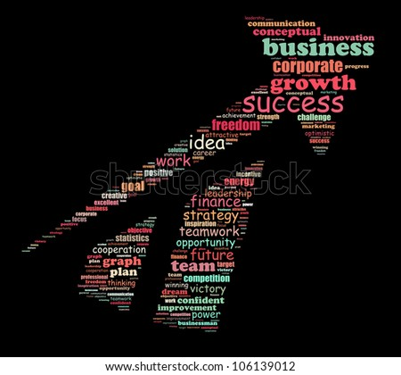 Success info-text graphics arrangement composed in arrow shape concept (word clouds)