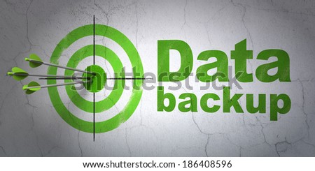 Success Information concept: arrows hitting the center of target, Green Data Backup on wall background, 3d render - stock photo